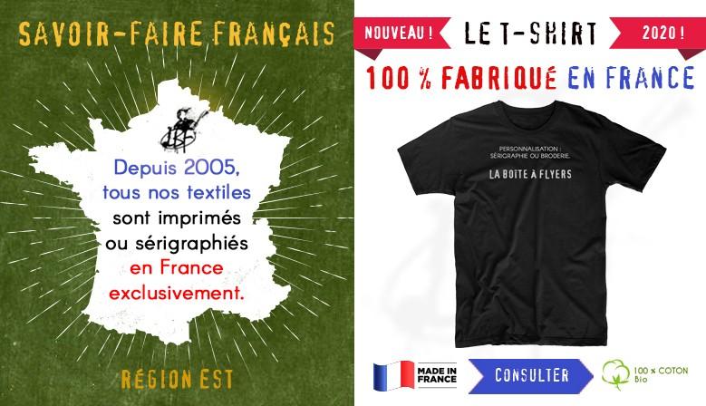 Tshirt bio exclusivement fabriqué et personnalisé en France (Est)